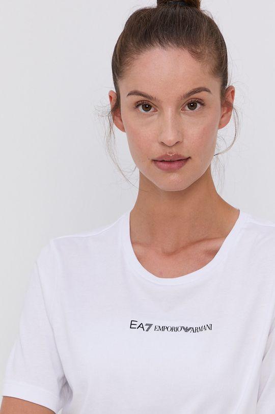 EA7 Emporio Armani - Bavlněné tričko bílá