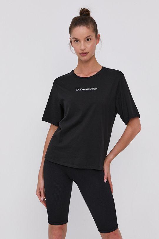 czarny EA7 Emporio Armani - T-shirt bawełniany Damski