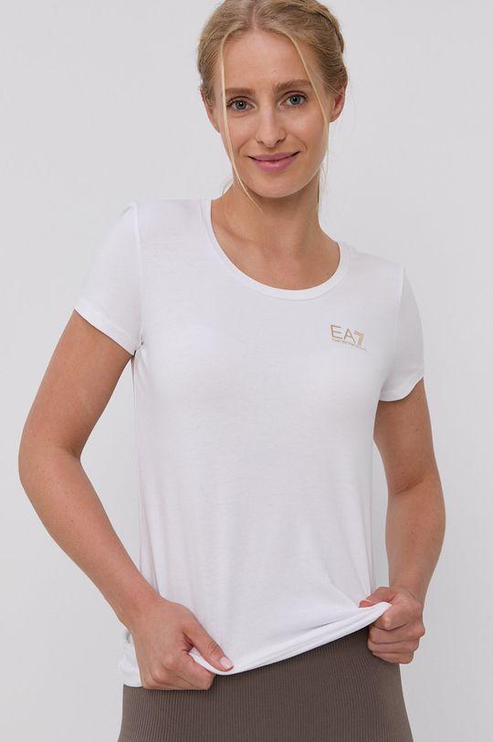 biały EA7 Emporio Armani - T-shirt bawełniany Damski