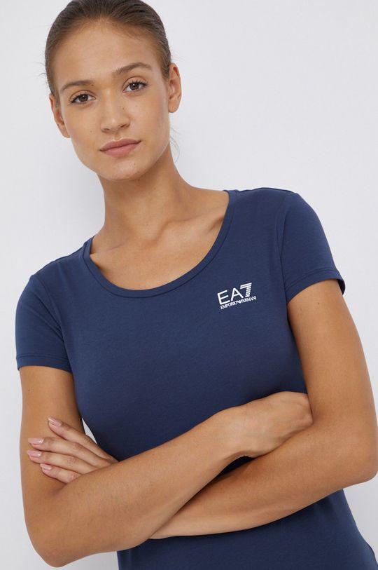 granatowy EA7 Emporio Armani - T-shirt bawełniany