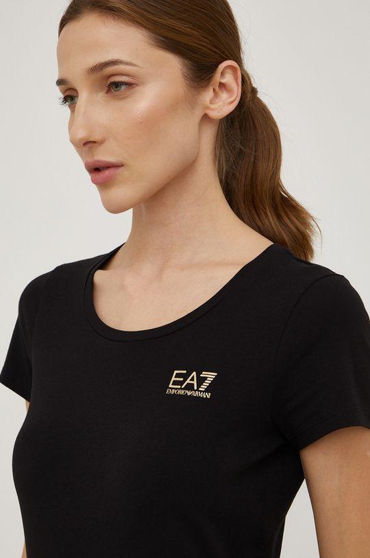 czarny EA7 Emporio Armani - T-shirt bawełniany