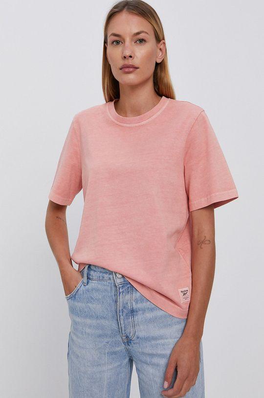 pastelowy różowy Reebok Classic - T-shirt bawełniany