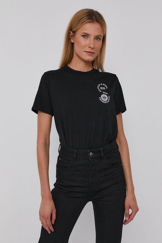 czarny Scotch & Soda - T-shirt bawełniany Damski