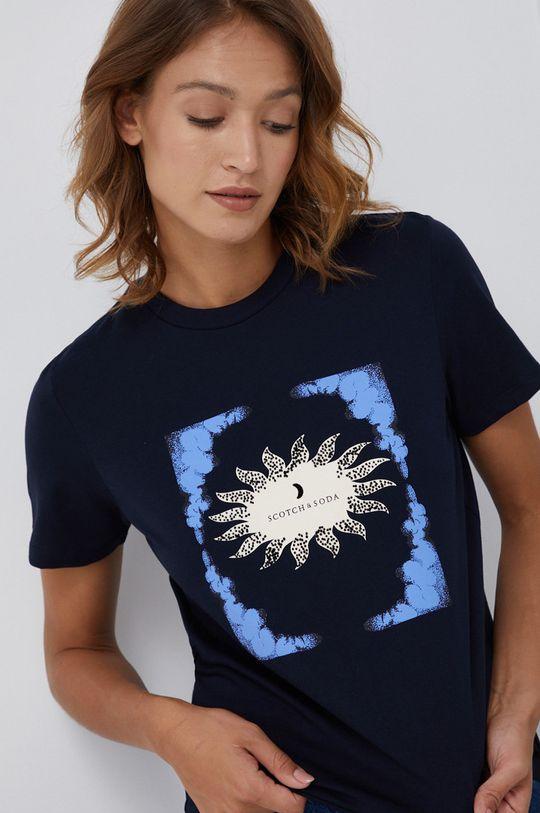 granatowy Scotch & Soda - T-shirt bawełniany