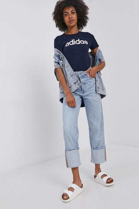 adidas - Bavlněné tričko námořnická modř
