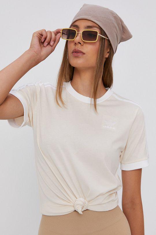 smetanová adidas Originals - Bavlněné tričko