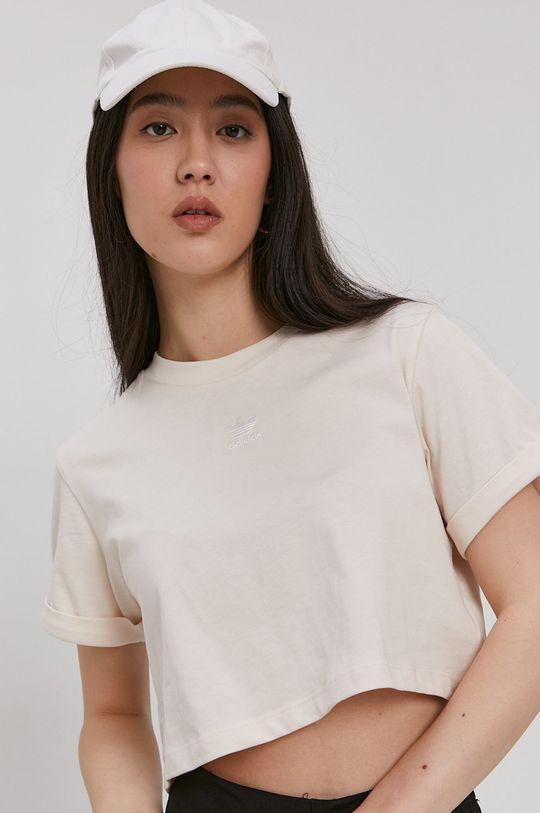 kremowy adidas Originals - T-shirt bawełniany Damski