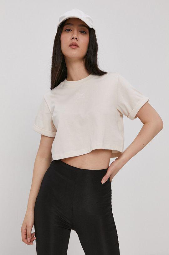 kremowy adidas Originals - T-shirt bawełniany