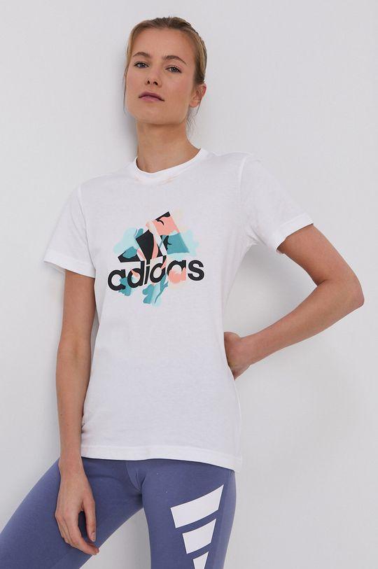 biały Adidas Performance - T-shirt bawełniany