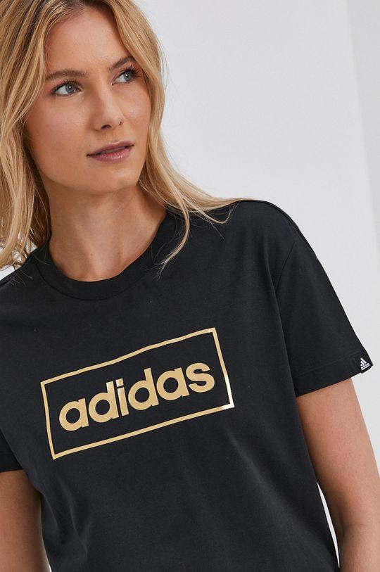 černá adidas - Bavlněné tričko