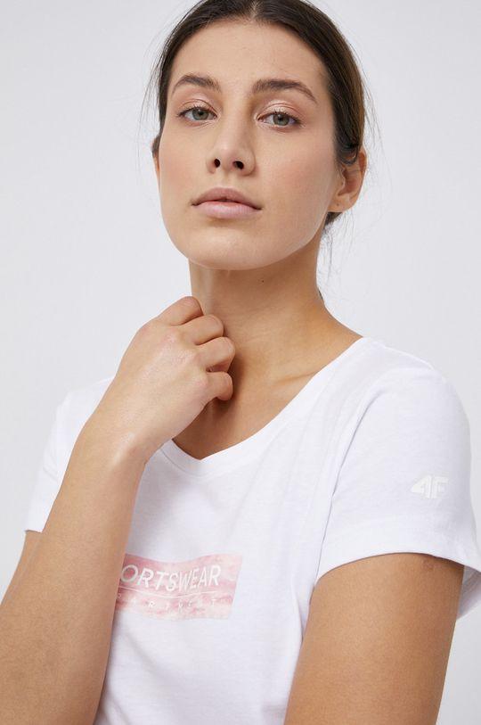 biały 4F - T-shirt bawełniany