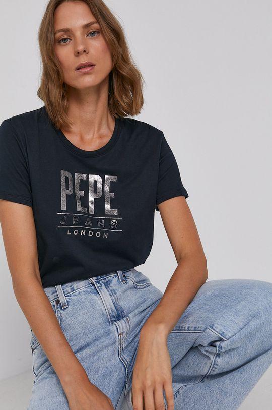 tmavomodrá Pepe Jeans - Bavlnené tričko Blancas Dámsky