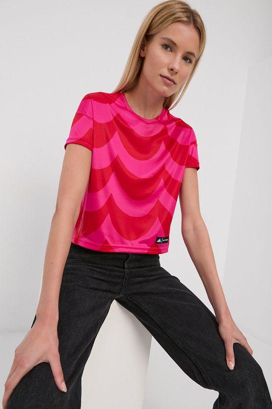 czerwony adidas Performance - T-shirt X Marimekko Damski