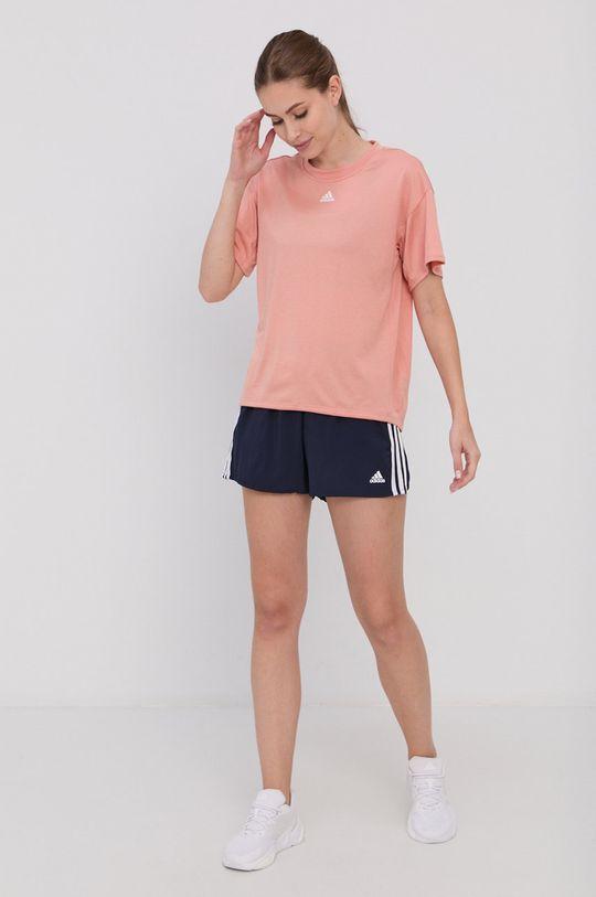brzoskwiniowy adidas Performance - T-shirt Damski