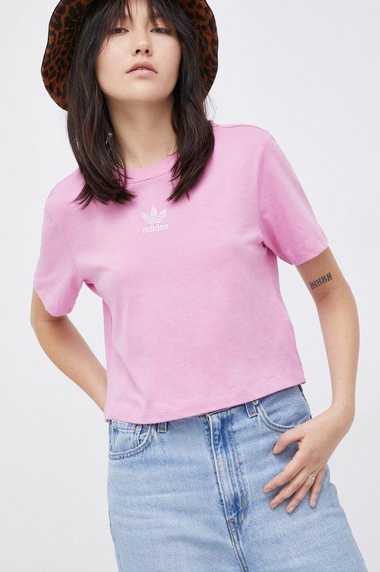 różowy adidas Originals - T-shirt bawełniany Damski