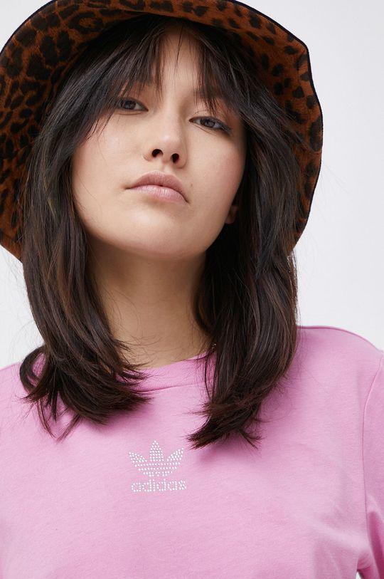 różowy adidas Originals - T-shirt bawełniany