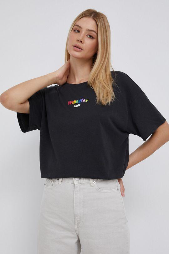Wrangler - Bavlněné tričko černá