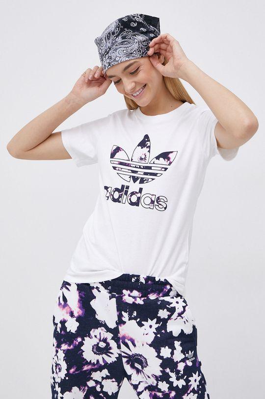 biały adidas Originals - T-shirt bawełniany Damski