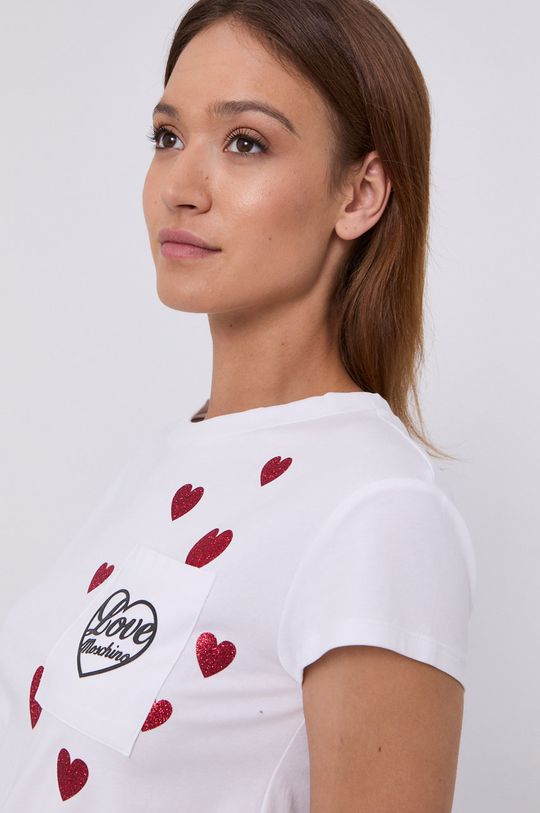 biały Love Moschino - T-shirt
