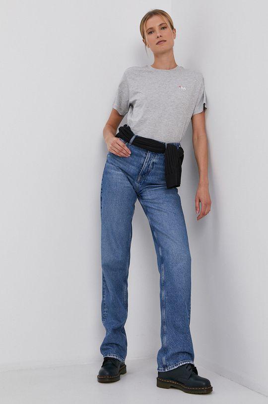 Fila - Bavlněné tričko světle šedá