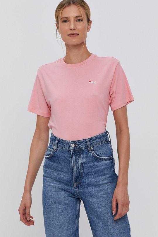 Fila - T-shirt bawełniany różowy