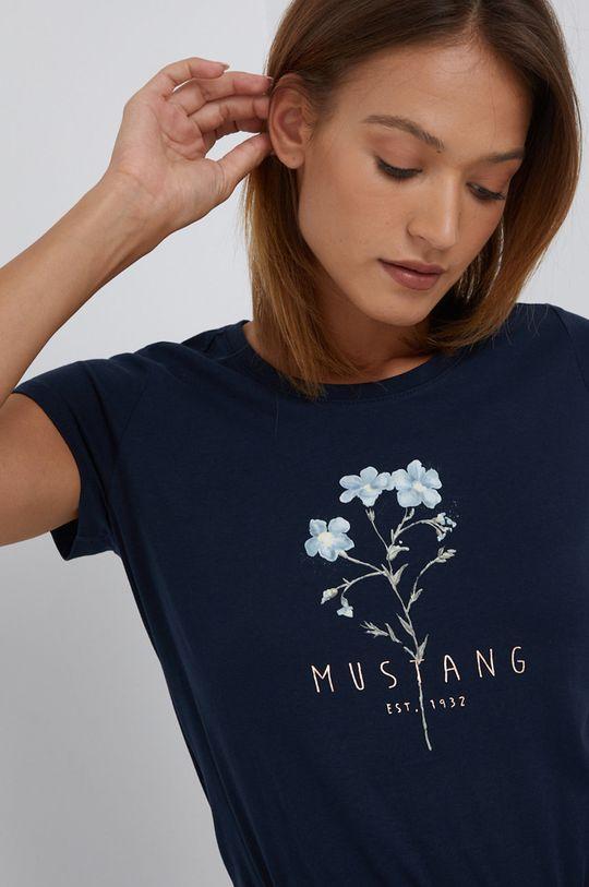 granatowy Mustang - T-shirt bawełniany Damski