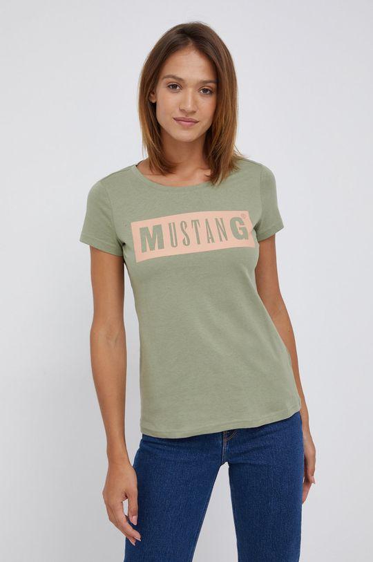 oliwkowy Mustang - T-shirt bawełniany Damski