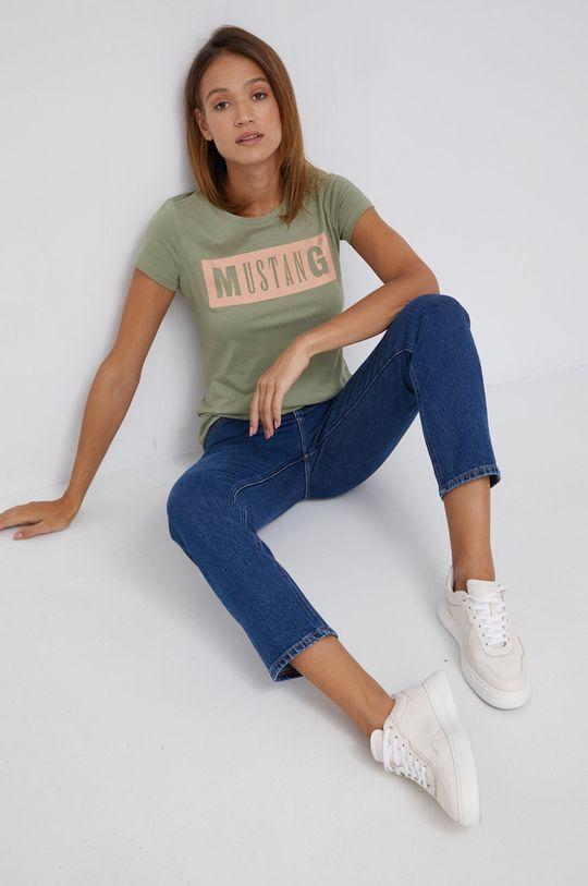 Mustang - T-shirt bawełniany oliwkowy