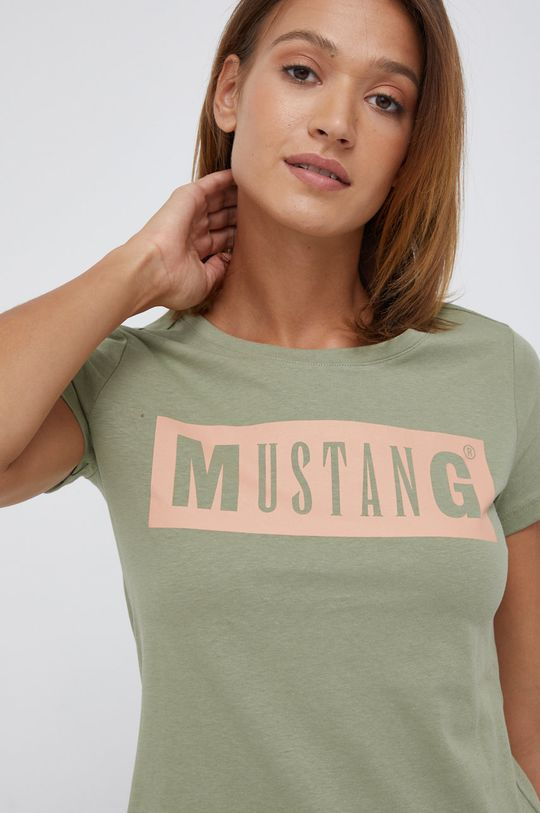 oliwkowy Mustang - T-shirt bawełniany