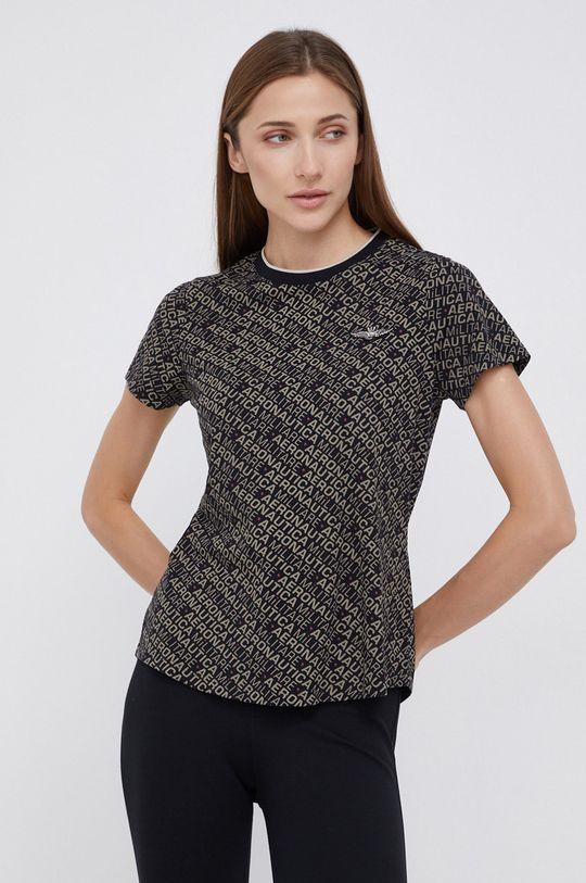 czarny Aeronautica Militare - T-shirt bawełniany Damski