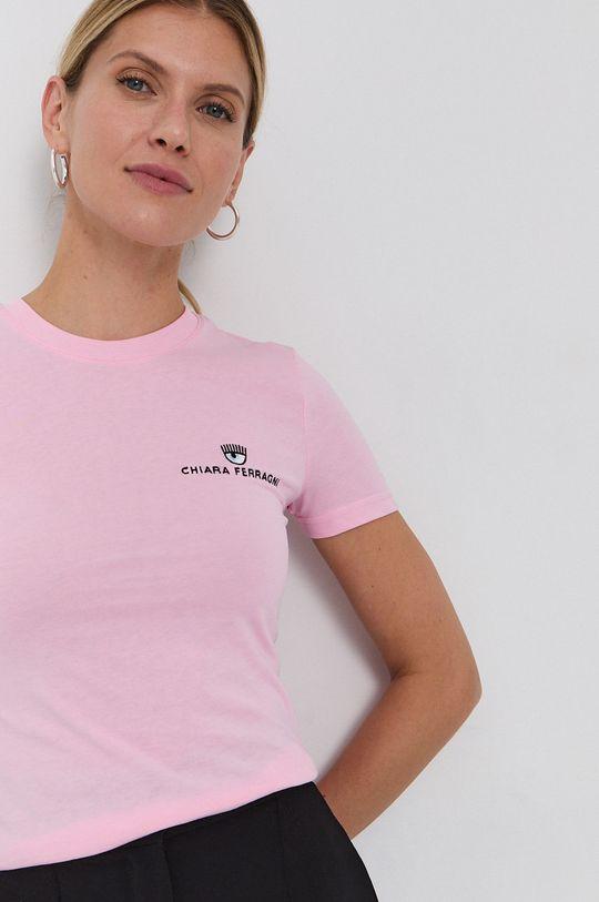 ružová Chiara Ferragni - Bavlnené tričko Logo Basic