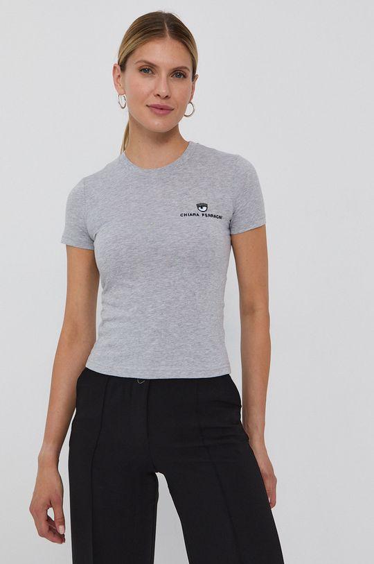 Chiara Ferragni - Tricou din bumbac Logo Basic gri