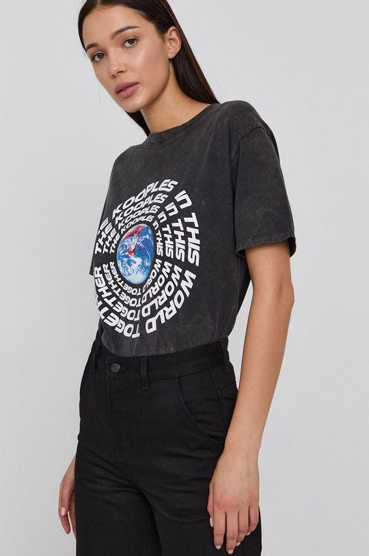 grafitová The Kooples - Bavlnené tričko Dámsky
