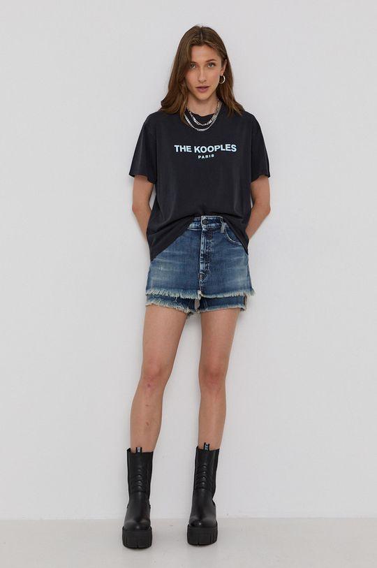 The Kooples - T-shirt bawełniany czarny