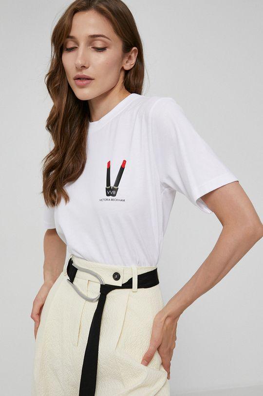 biały Victoria Victoria Beckham - T-shirt bawełniany Damski