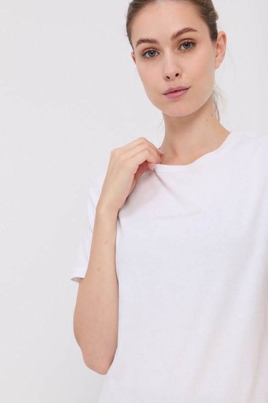 biały Peak Performance - T-shirt bawełniany