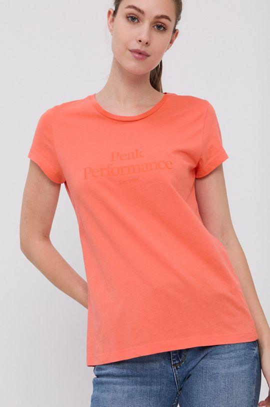brzoskwiniowy Peak Performance - T-shirt bawełniany Damski