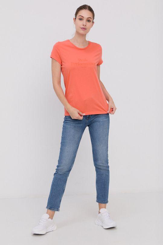 Peak Performance - T-shirt bawełniany brzoskwiniowy