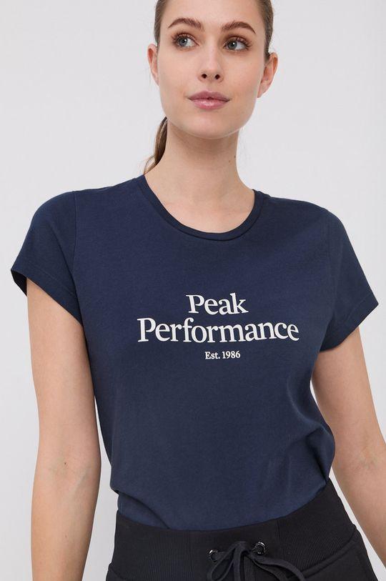 granatowy Peak Performance - T-shirt bawełniany Damski