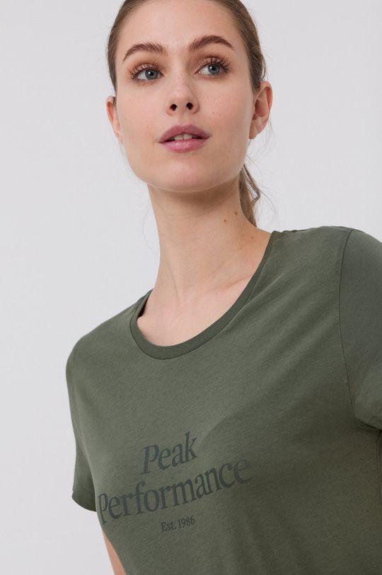 brązowa zieleń Peak Performance - T-shirt bawełniany Damski