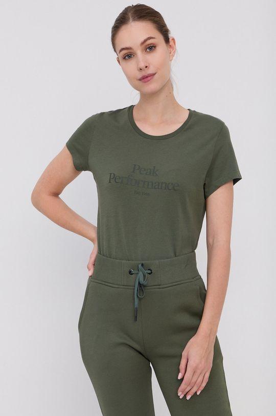 brązowa zieleń Peak Performance - T-shirt bawełniany