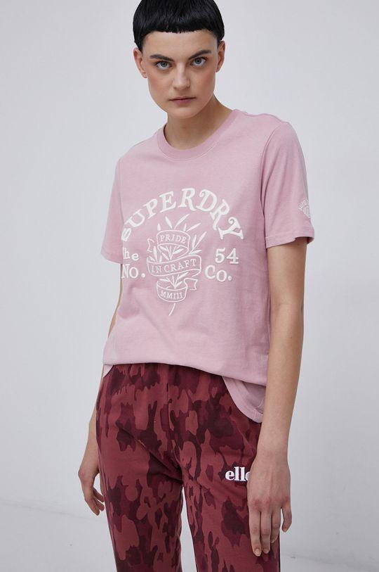 pastelowy różowy Superdry - T-shirt bawełniany Damski
