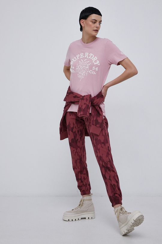 Superdry - T-shirt bawełniany pastelowy różowy