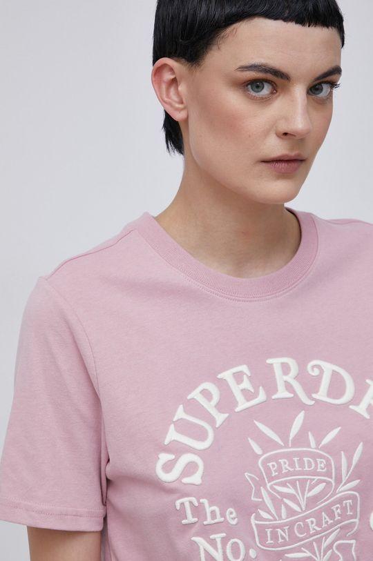 pastelowy różowy Superdry - T-shirt bawełniany