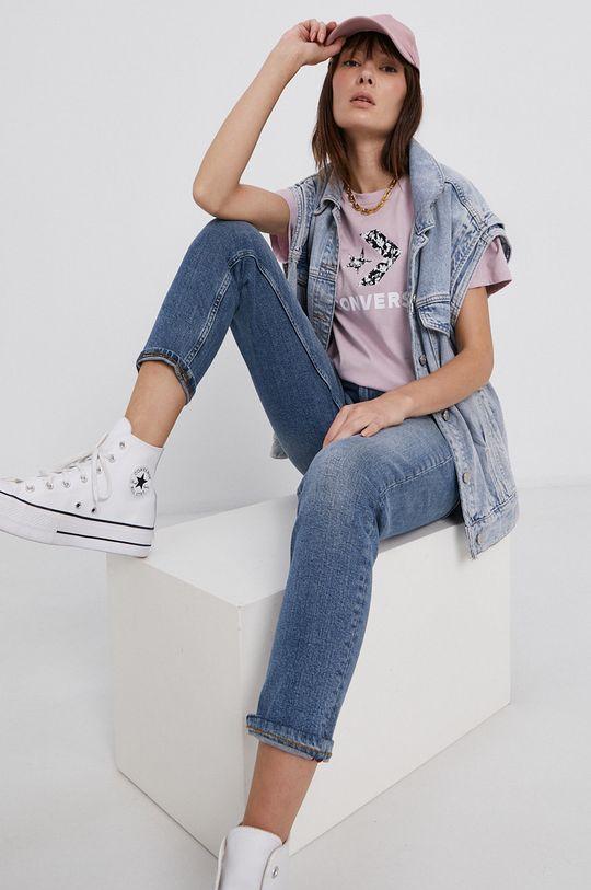 Converse - T-shirt bawełniany brudny róż