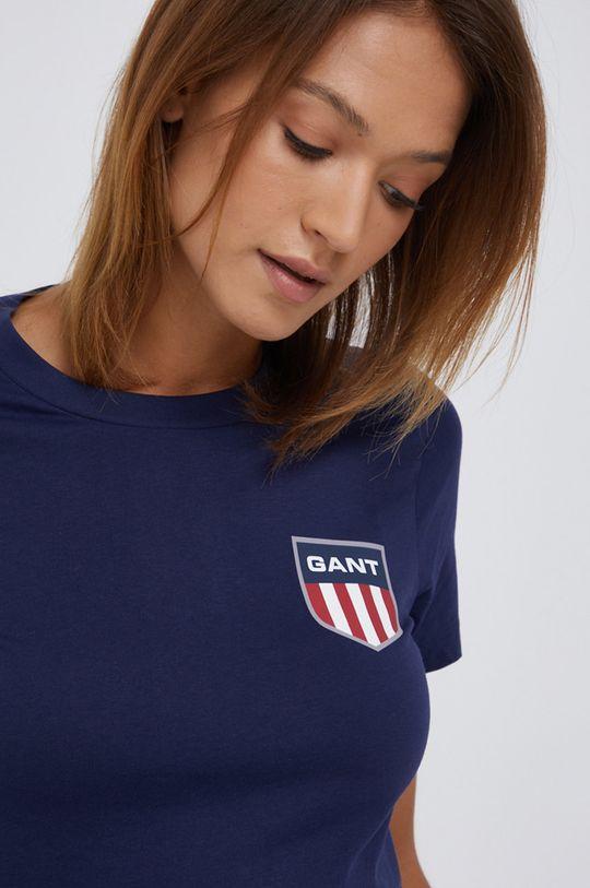granatowy Gant - T-shirt bawełniany