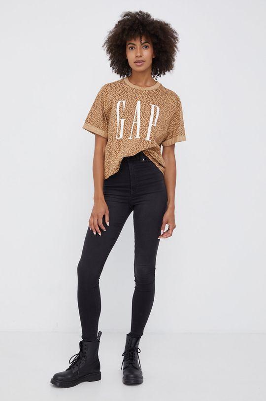 GAP - T-shirt bawełniany brązowy