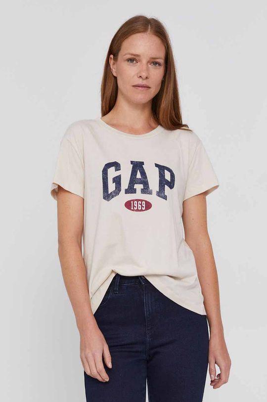 kremowy GAP - T-shirt bawełniany Damski