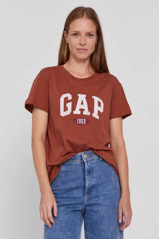 kawowy GAP - T-shirt bawełniany Damski