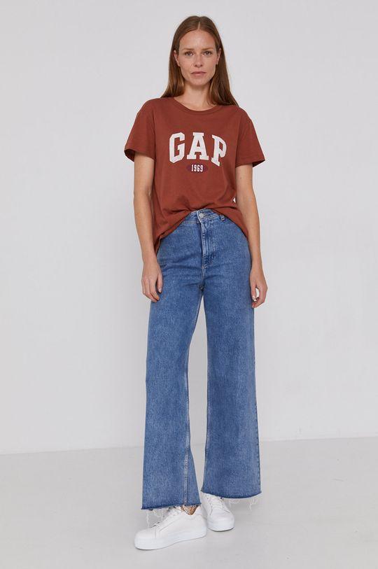 GAP - T-shirt bawełniany kawowy